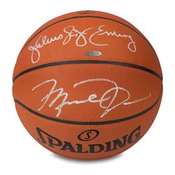 Michael Jordan  Julius Erving Signed Spalding Basketball (UDA COA)