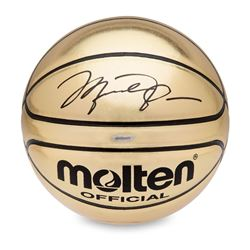 Michael Jordan Signed Molten Gold Trophy Basketball (UDA COA)