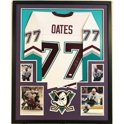 Adam Oates Signed Mighty Ducks 34x42 Custom Framed Jersey (JSA COA)