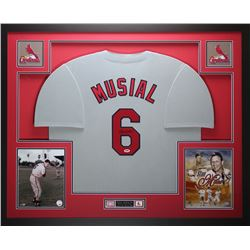 "Stan Musial Signed Cardinals 35"" x 43"" Custom Framed Jersey (PSA COA)"