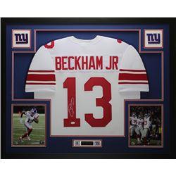 Odell Beckham Jr. Signed Giants 35x43 Custom Framed Jersey (JSA COA)