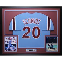 "Mike Schmidt Signed Phillies 35x43 Custom Framed Jersey Display Inscribed ""80 NL/WS MVP"" (Fanatics"