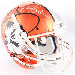 Barry Sanders Signed OK State Cowboys Throwback Pistol Pete Orange Chrome Full-Size Helmet (Schwartz