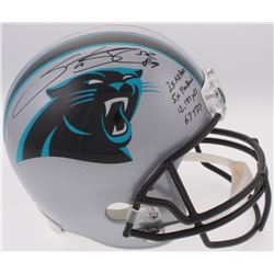 Steve Smith Sr. Signed Panthers Full-Size Helmet With (4) Career Stat Inscriptions (Smith Hologram)
