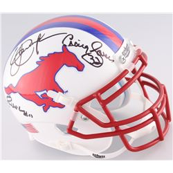 Lance McIlhenny, Craig James  Eric Dickerson Signed SMU Mustangs Mini-Helmet (JSA COA)