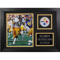 Jack Lambert Signed Steelers 14x18.5 Custom Framed Photo Display (JSA COA)