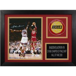Hakeem Olajuwon Signed Rockets 14x18.5 Custom Framed Photo Display (JSA COA)