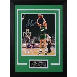 Larry Bird Signed Celtics 14x18.5 Custom Framed Photo Display (PSA COA)