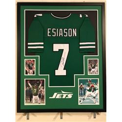 Boomer Esiason Signed Jets 34x42 Custom Framed Jersey (JSA COA)