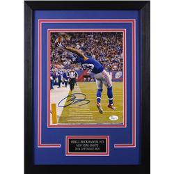 Odell Beckahm Jr. Signed Giants 14x18.5 Custom Framed Photo Display (JSA COA)