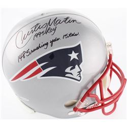 "Curtis Martin Signed Patriots Full-Size Helmet Inscribed ""1995 ROY"", ""1485 Rushing Yds""  ""15 TD's"" L"
