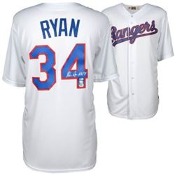 "Nolan Ryan Signed Rangers Majestic Jersey Inscribed ""H.O.F. '99"" (MLB Hologram  Fanatics Hologram)"