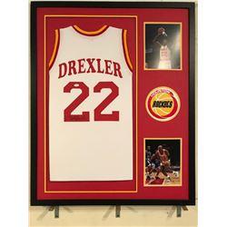 Clyde Drexler Signed Rockets 34x42 Custom Framed Jersey (JSA COA)