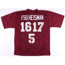 "Charlie Ward, Chris Weinke,  Jameis Winston Signed Florida State Seminoles ""FSU Heisman"" Jersey with"