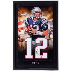Tom Brady Signed Patriots 23x35 Custom Framed Jersey Number Display (UDA COA)