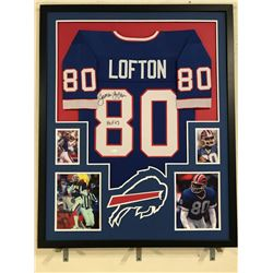 "James Lofton Signed Bills 34x42 Custom Framed Jersey Display Inscribed ""HOF 03"" (JSA COA)"