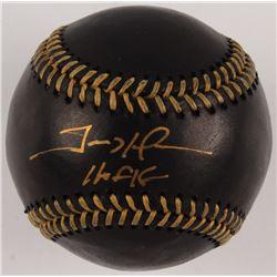 """Trevor Hoffman Signed OML Black Leather Baseball Inscribed """"HOF 18"""" (Beckett COA)"""