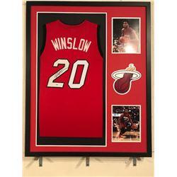 Justise Winslown Signed Heat 34x42 Custom Framed Jersey Display (PSA COA)