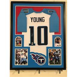 Vince Young Signed Titans 34x42 Custom Framed Jersey Display (JSA COA)