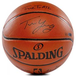 """Trae Young Signed LE NBA Game Ball Series Basketball Inscribed """"True To ATL"""" (Panini COA)"""