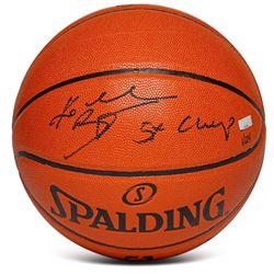 "Kobe Bryant Signed LE NBA Spalding Basketball Inscribed ""5X Champ"" (Panini COA)"