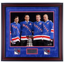 Rangers 26x27.75 Custom Framed Photo Display Team-Signed by (4) with Mark Messier, Brian Leach, Mike