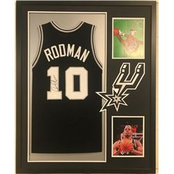 "Dennis Rodman Signed Spurs 34x42 Custom Framed Jersey Inscribed ""4256"" (JSA COA)"