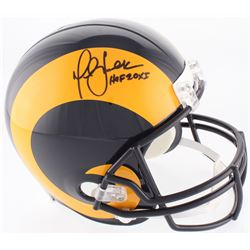 "Marshall Faulk Signed Rams Full-Size Throwback Helmet Inscribed ""HOF 20XI"" (Beckett COA)"