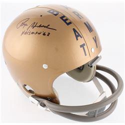 "Roger Staubach Signed Navy Midshipmen Full-Size On-Field Throwback Suspension Helmet Inscribed ""Heis"