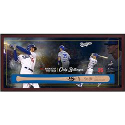 "Cody Bellinger Signed Dodgers ""Rookie of the Year"" 23.5x49.5x3.25 Custom Framed Louisville Slugger B"