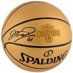 "Dirk Nowitzki Signed ""The Champions"" NBA 2011 Champions Logo Basketball (Fanatics Hologram)"