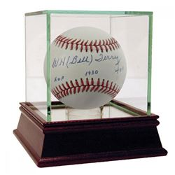"""Bill Terry Signed ONL Baseball Inscribed """"HOF 1930""""  """"401 Inscription"""" (JSA COA)"""