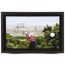 """Tiger Woods Signed LE """"British Open 10th Tee"""" 15x23 Custom Framed Photo Display with Golf Ball Break"""
