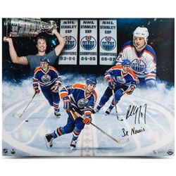 "Paul Coffey Signed Oilers 16x20 Photo Inscribed ""3X Norris"" (UDA COA)"