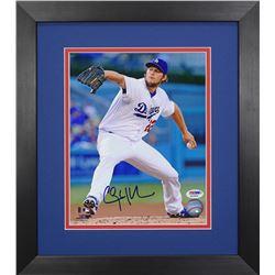 Clayton Kershaw Signed Dodgers 13.75x15.5 Custom Framed Photo Display (PSA COA)