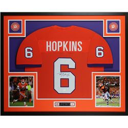 DeAndre Hopkins Signed Clemson Tigers 35x43 Custom Framed Jersey Display (JSA COA)