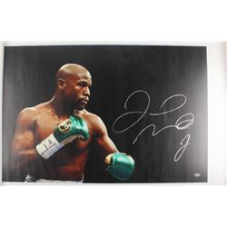 Floyd Mayweather Jr. Signed 26x44 Photo On Canvas (Beckett COA)