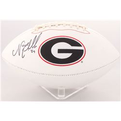 Nick Chubb Signed Georgia Bulldogs Logo Football (Radtke COA)