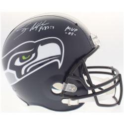 """Shaun Alexander Signed Seahawks Full-Size Helmet Inscribed """"MVP -05-"""" (Beckett COA)"""
