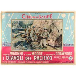 "Robert Wagner Signed Vintage 1956 ""I Diavoli del Pacifico"" 19.5x27.5 Movie Poster (JSA COA)"