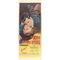 """Robert Wagner Signed Vintage 1956 """"A Kiss Before Dying"""" 14x36 Movie Poster (JSA COA)"""