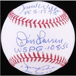 David Wells, David Cone  Don Larson Signed OML Baseball with (3) Inscriptions (JSA COA)