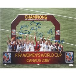 2015 Team USA FIFA Women's World Cup Champions 16x20 Photo Signed By (9) With Hope Solo, Shannon Box