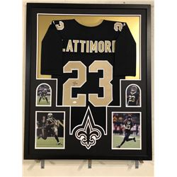 Marshon Lattimore Signed Saints 34x42 Custom Framed Jersey Display (JSA COA)