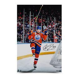 "Connor McDavid Signed Oilers ""Home Opener Celebration"" 16x24 Photo (UDA COA)"