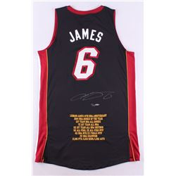 """LeBron James Signed LE Heat """"10th NBA Anniversary"""" Authentic Adidas On-Court Career Highlight Stat J"""