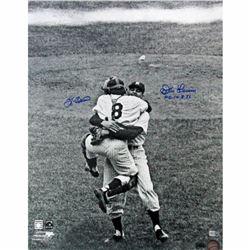 """Yogi Berra  Don Larsen Signed Yankees 16x20 Photo Inscribed """"PG 10.8.56"""" (Steiner COA  MLB)"""