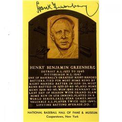 Hank Greenberg Signed Hall of Fame Plaque Postcard (JSA COA)
