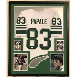"""Vince Papale Signed Eagles 34x42 Custom Framed Jersey Inscribed """"Invincible"""" (JSA COA)"""