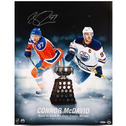"Connor McDavid Signed Oilers ""Back to Back Art Ross Trophy Winner"" 16x20 Photo (UDA COA)"
